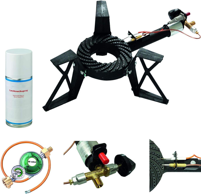 CAGO Taburete (3 Patas Hervidor 10,5 kW Quemador de Gas Hornillo de Gas con Encendido piezoeléctrico. Seguridad Gas Manguera regulador de Gas con ...