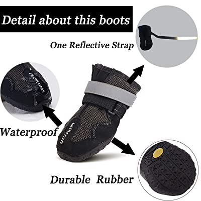 Proplums Waterproof Dog Boots, Anti-skid