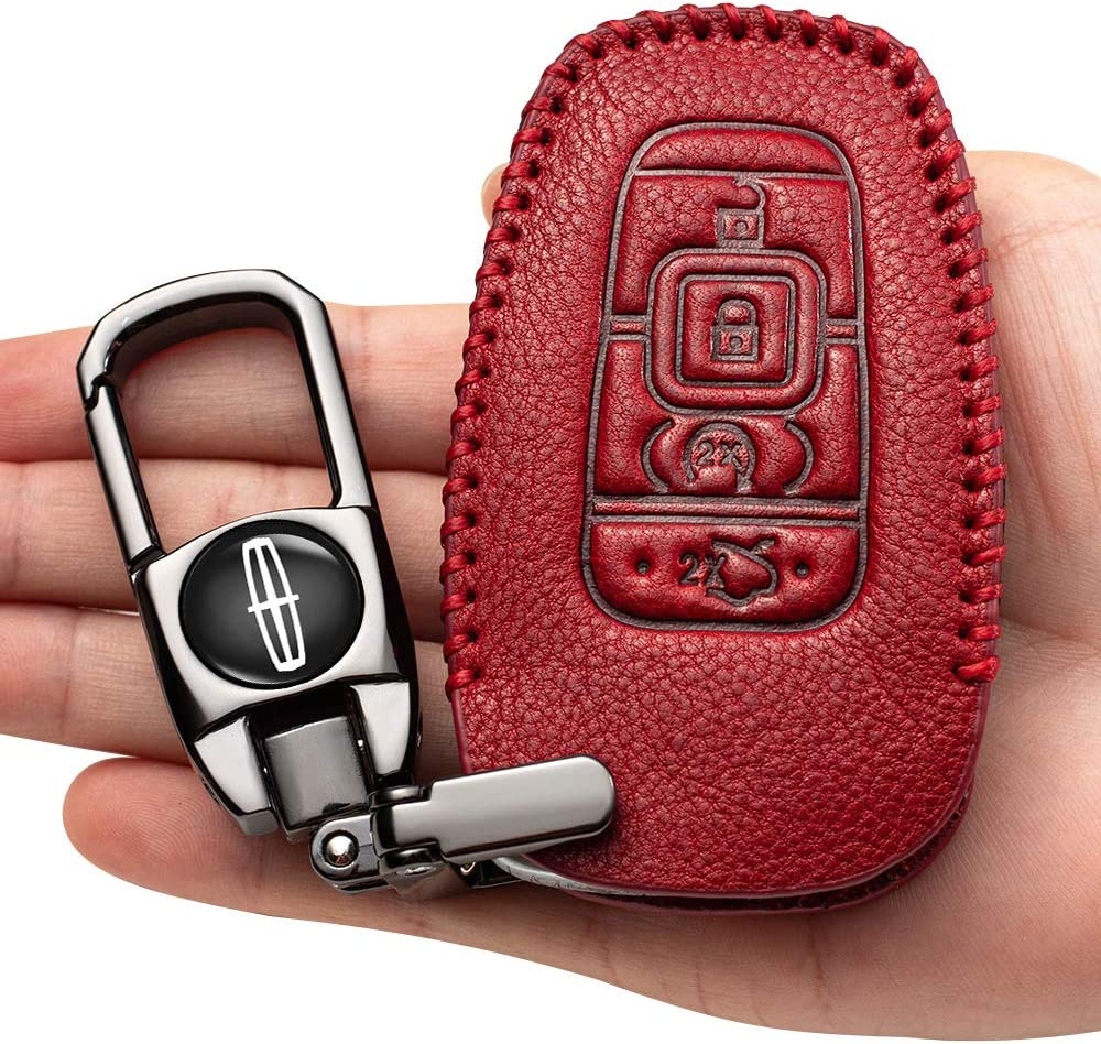 genuine leather key fob cover suit for Lincoln 4 Buttons Smart keyless Entry Remote Key Fob case Cover Keychain for 2017 2018 2019 Lincoln Continental MKC MKZ Navigator leather key cover,accessories