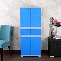 Cello Novelty Triplex Plastic Cupboard with 4 Shelves(Blue and Grey)
