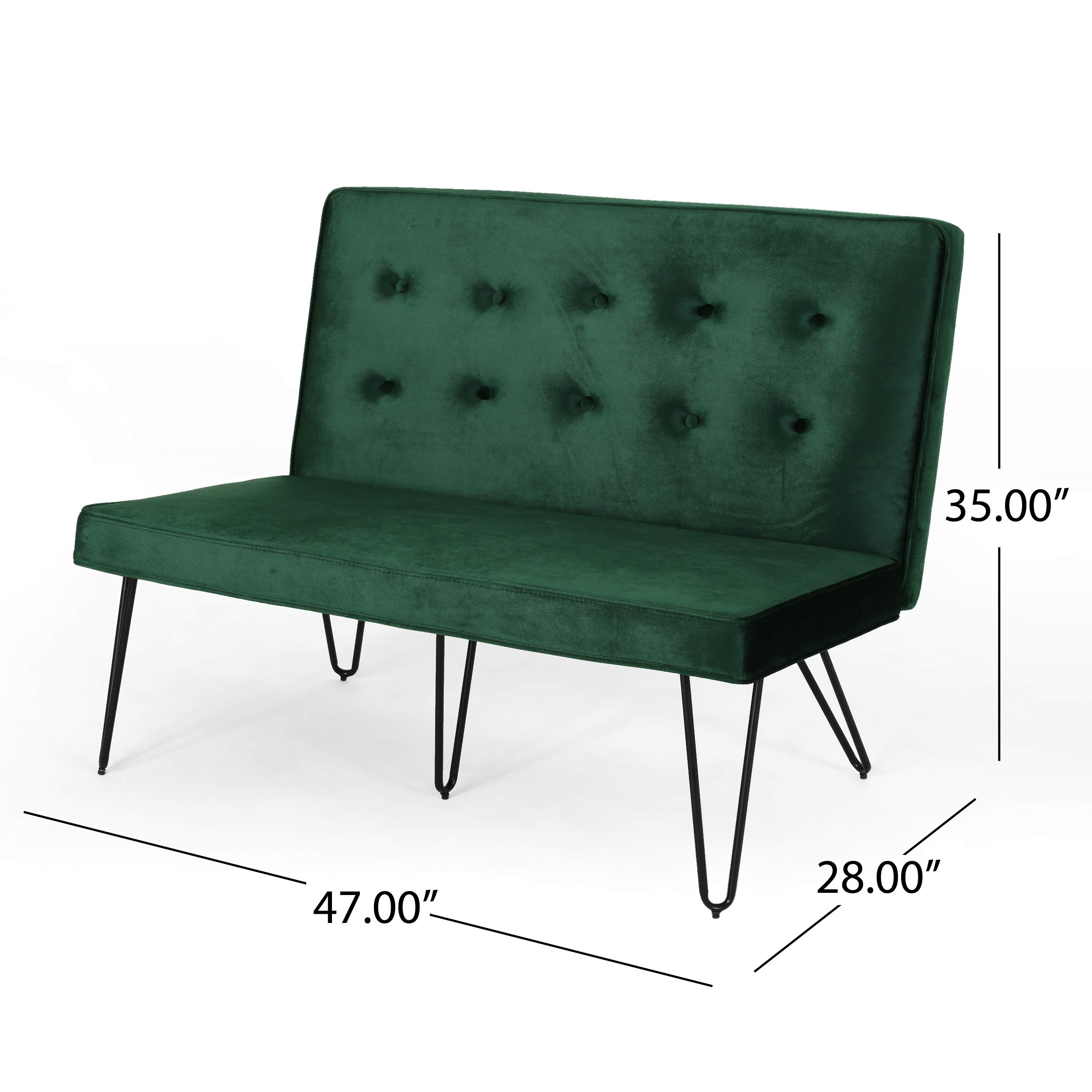 Beatrice Minimalist Dining Bench Settee with Tufted Velvet Cushion and Iron Legs - Emerald and Black by Great Deal Furniture (Image #2)
