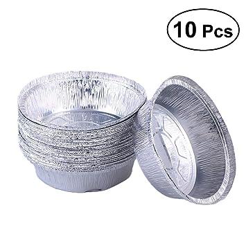 BESTONZON 50 piezas 6 pulgadas Tin papel cuenco redondo forma desechable durable aluminio placa de aluminio ...