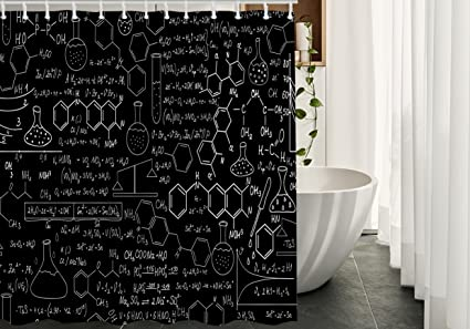 Migant Science Shower Curtains Decor Chemical Formula Medical Biology Chemistry Genetics Waterproof Polyester Fabric Bathroom