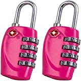 2 x TSA Security Padlock - 4-dial Combination Travel Suitcase Luggage Bag Code Lock (PINK) - LIFETIME WARRANTY