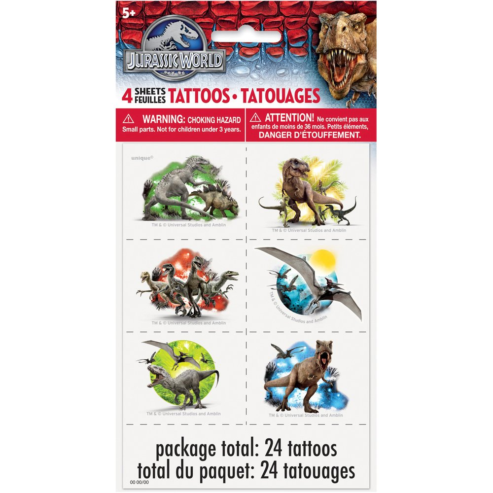 Jurassic World Temporary Tattoos [4 Sheets]: Amazon.es ...
