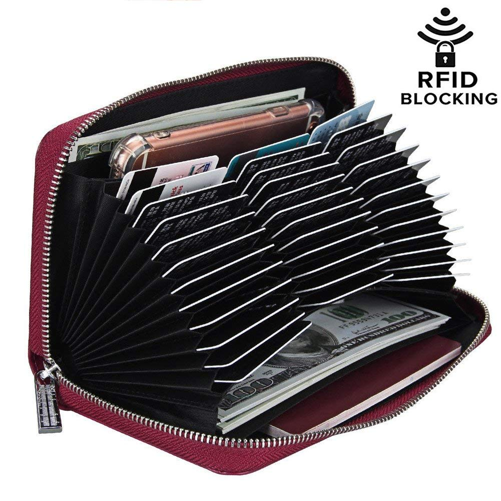 Genuine Leather RFID Blocking Card Holder Wallet 36 Slots Card Case Organizer (Coffee)