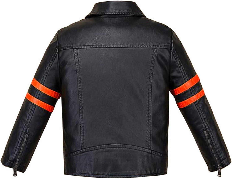 VearFit Funkey Conrast Zipper Kids Toddler Pu Faux Leather Jacket