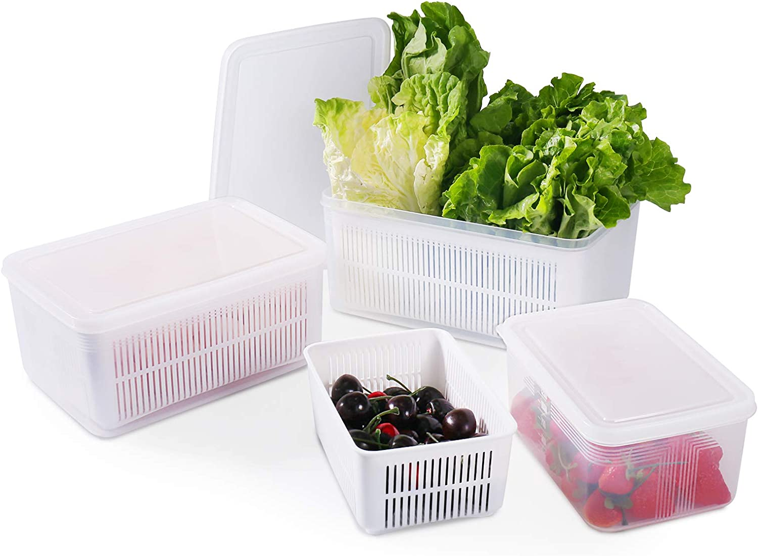 77L Food Storage Container for Fridge, (3 Pack) Fresh Vegetable Storage Container with Strainer, Stackable Freezer Food Organizers for Storing Fruits, Veggie, Salad