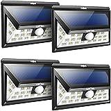Litom Solarleuchten, 24 LED Wandleuchte Außen, Solar Betriebene Außenleuchte, Wasserdicht 3 Modi mit Sensor Bewegungsmelder für Garten, Zaun,Terrasse (4er PACK)