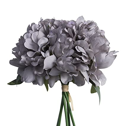 Amazon artificial fake peony silk flower bridal hydrangea home artificial fake peony silk flower bridal hydrangea home wedding garden decor grey mightylinksfo