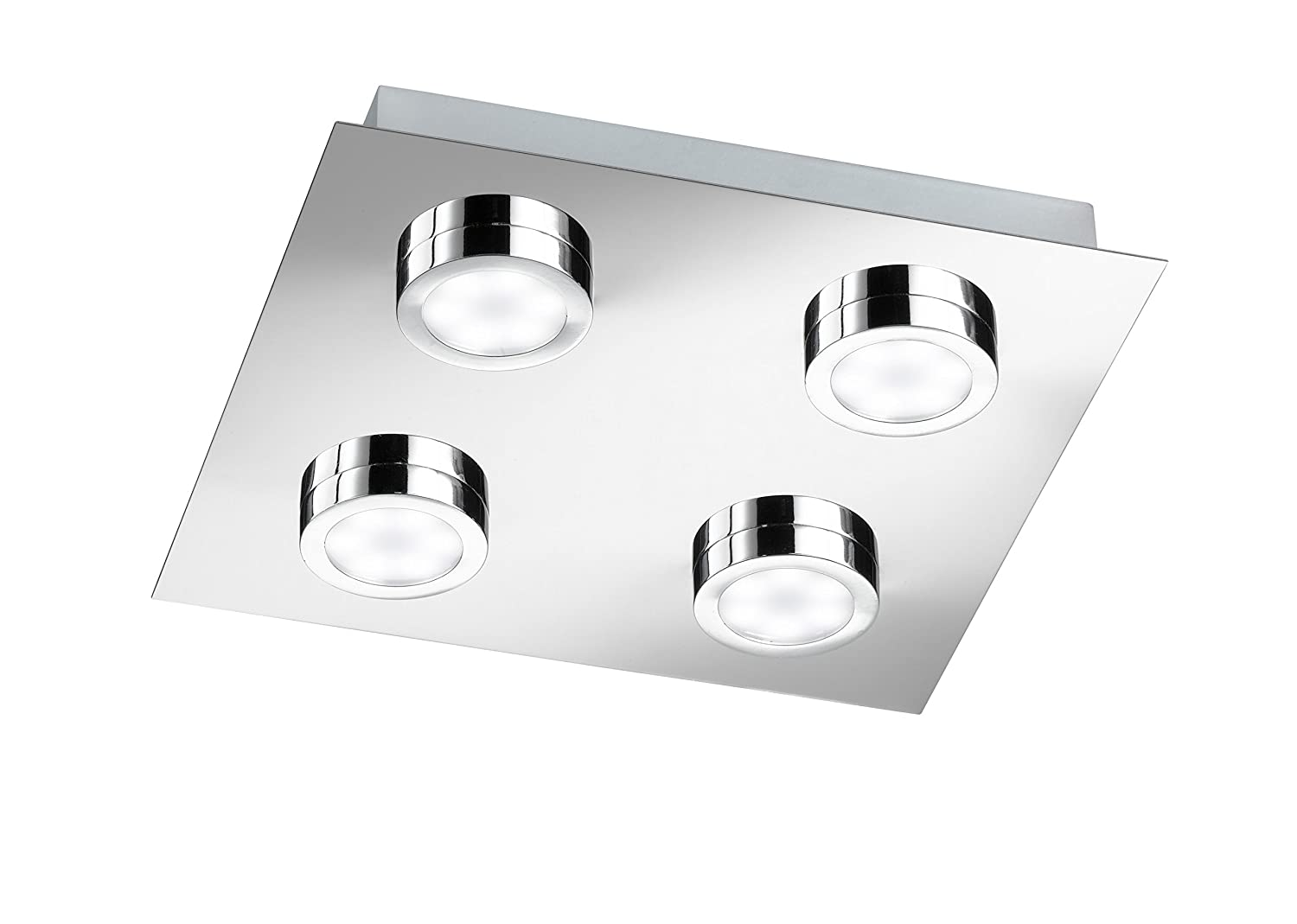 Wofi Ceiling Light SPA-Line, 4 Lights, Veneta Series, Energy Efficiency Class A+, Protection Class IP20, 3000 Kelvin, 210 Lumens, 4x LEDs / 3 W, 25 x 4 x 25 cm, Chrome 9871.04.01.0044 [Energy Class A+]