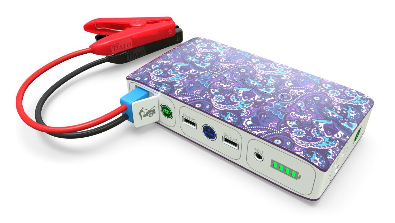 Haloボルト58830 MWHポータブル電話ノートPC充電器ACコンセントと車ジャンプスターター – バイオレットペイズリー B07DD96B39
