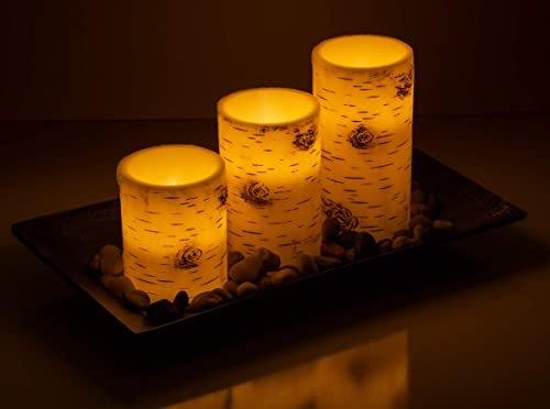 Dawhud Direct Birch Bark Candlescape Set, 3 LED Flickering Flameless Wax Candles, Decorative Tray, Rocks Remote Control