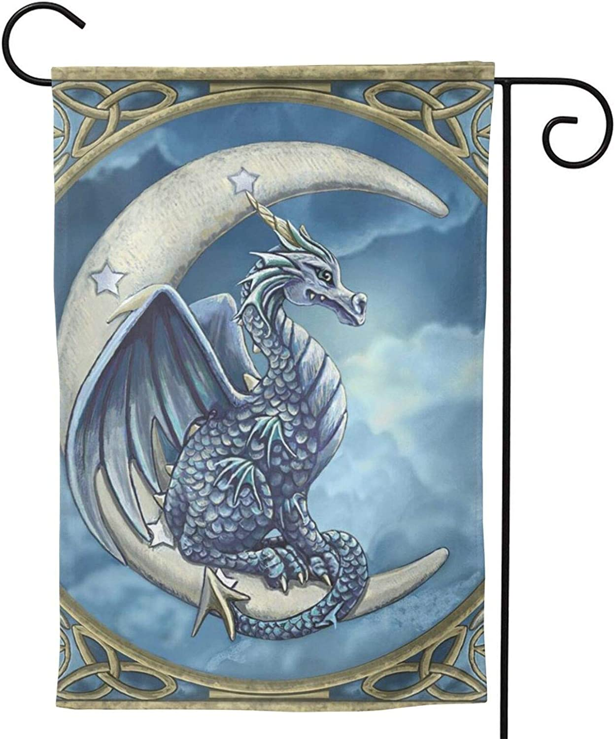 MINIOZE Wicca Wiccan Dragon Moon Magic Party Themed Flag Welcome Outdoor Outside Decorations Ornament Picks Garden Yard Decor Double Sided 12.5X 18 Flag