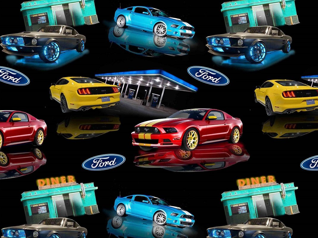 Amazon com ford mustang cotton fabric ford mustang diner and gas station quilting cotton fabric 10107