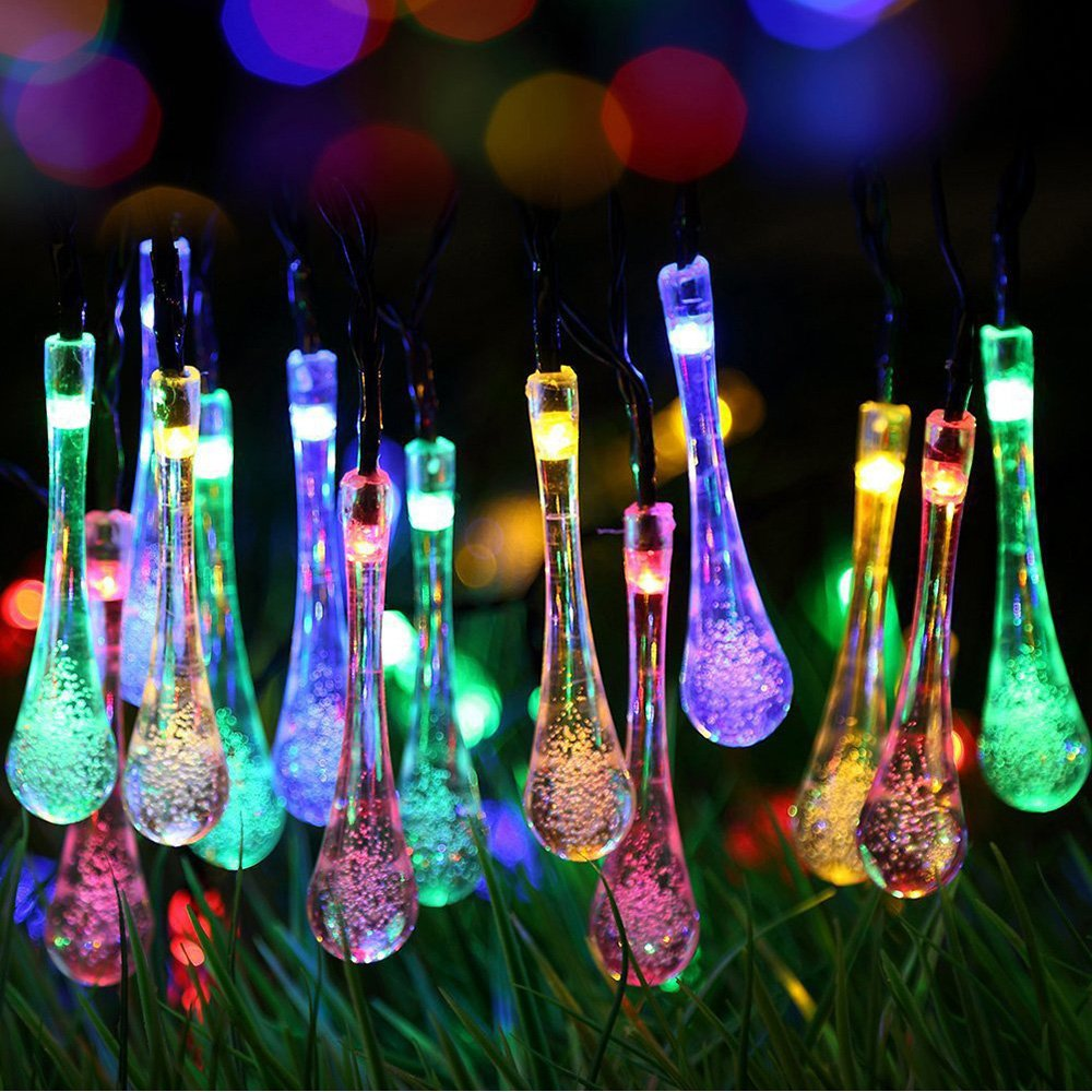 ifOlife Raindrop Solar String Light Outdoor Decro 30 LEDs 21Ft 8-Mode Waterproof Crystal Ball Fairy Lighting for Decor,Garden,Chrimas Party,Weddings Multi Color by ifOlife