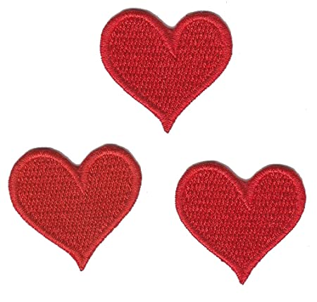 Love Hearts Red Set Iron On Sew On Embroidered Badge Applique