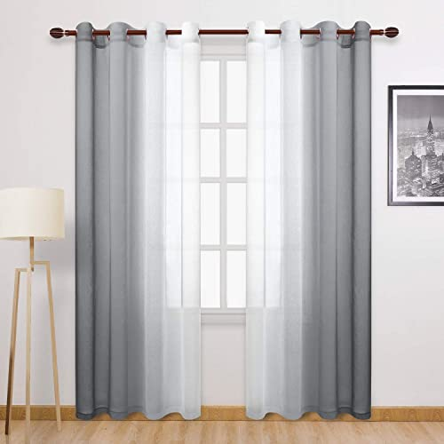 DWCN Ombre Grey Faux Linen Sheer Curtains – Semi Voile Gradient Grommet Top Curtains for Bedroom and Living Room, 52 x 96 Inches Long, Set of 2 Window Curtain Panels
