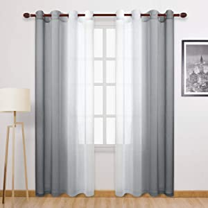 DWCN Grey Faux Linen Ombre Sheer Curtains - Semi Voile Gradient Grommet Top Curtains for Bedroom and Living Room, Set of 2 Window Curtain Panels, 52 x 84 Inches Long