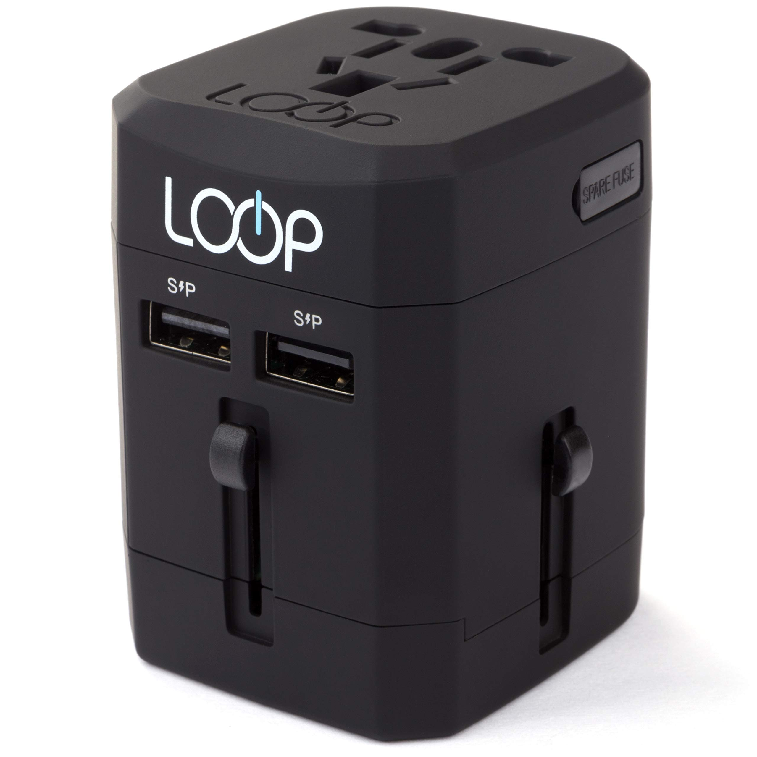 LOOP World Adapter Plug, Worldwide Travel Adapter Charger [US UK EU AU/CN] w/Dual USB Charging Ports & Universal AC Socket - Safety Fused (Black)