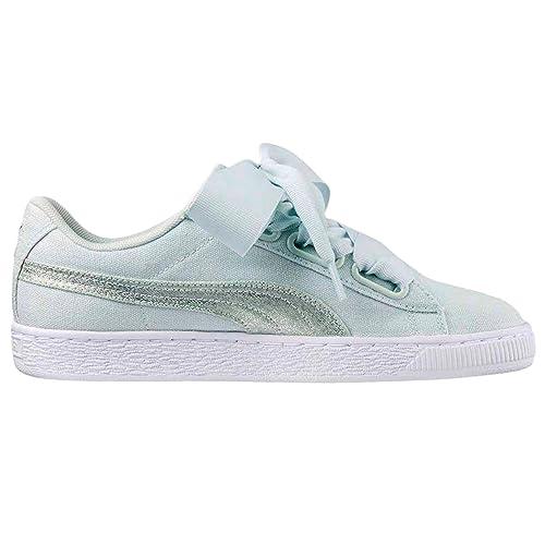 Puma Basket Heart Patent. Zapatillas Charol Blanca y Rosa para Mujer. Sneaker (37