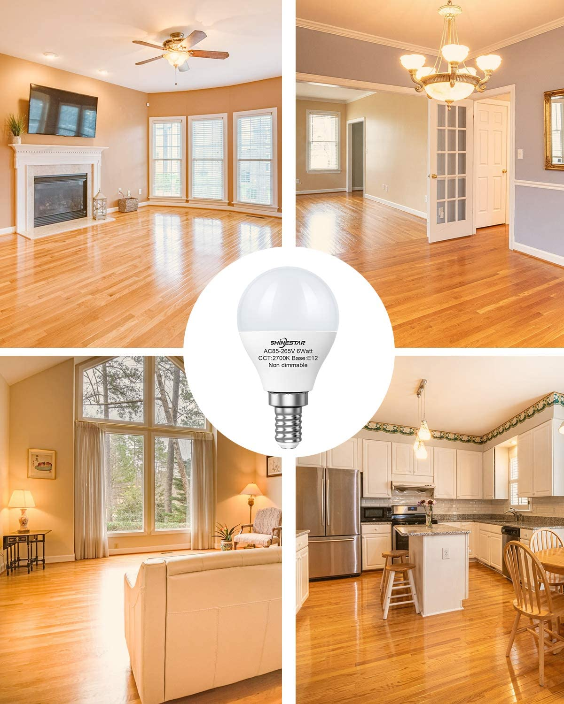 Small LED Light Bulb 8-Pack E12 LED Ceiling Fan Light Bulbs 60 watt Equivalent Warm White A15 Candelabra Base LED Bulbs Vanity Non-dimmable