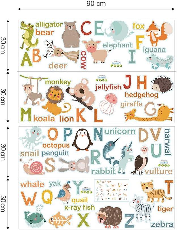 decalmile Alphabet Animaux Stickers Muraux Enfant /Éducation Amovible Autocollant D/écoration Murale pour Chambre Enfants B/éb/é Salle de Classe Salon