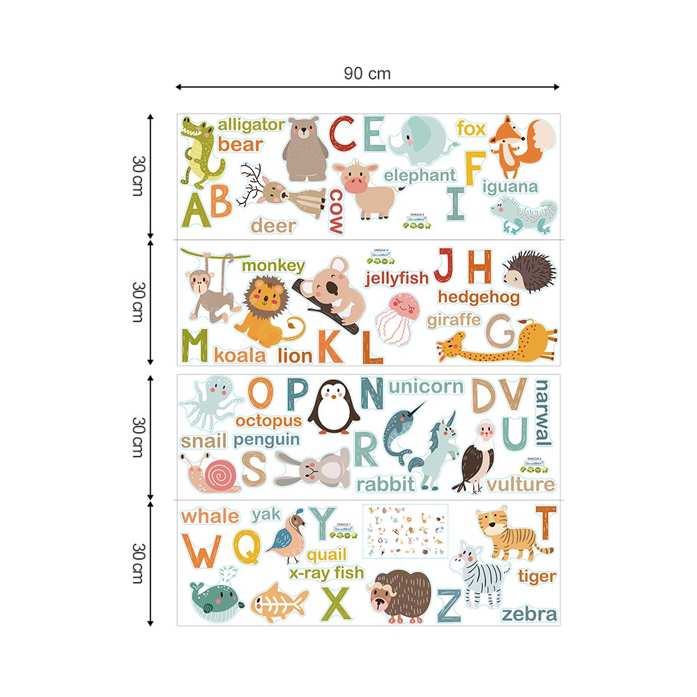 decalmile Alphabet ABC and Animals Wall Decals Classroom Kids Room Wall Decor Removable Wall Stickers for Kids Bedroom Nursery Baby Room by decalmile (Image #5)