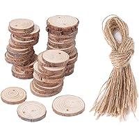 Hongzer Rebanadas de Madera, 2 Tipos 50 unids Árbol Disco Tronco de Madera para DIY Crafting Boda rústico Decoración de Madera
