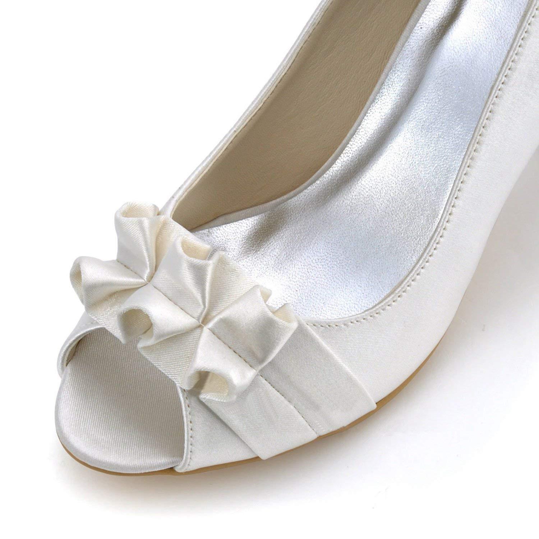 Qiusa GYMZ710 Damen Damen Damen High Heel Satin Abend Party Prom Braut Hochzeit Schuhe Pumps Sandalen Flatfs (Farbe   Ivory-7.5cm Heel Größe   6.5 UK) 196b43