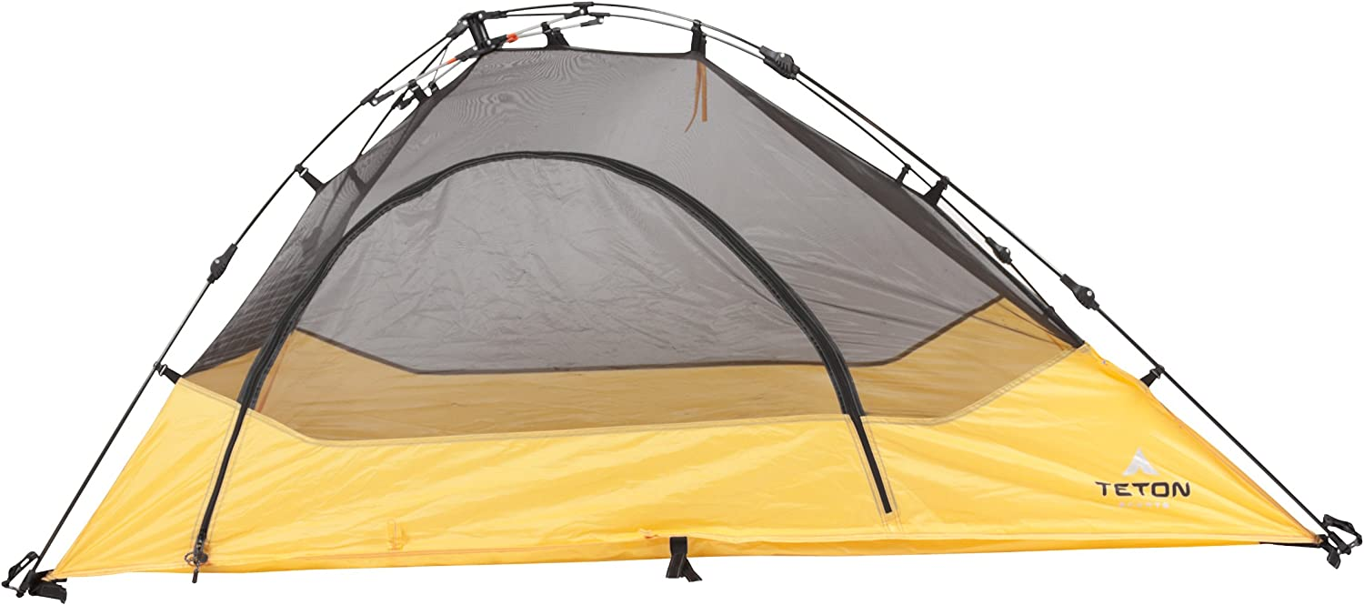 TETON Sports Outfitter Quick Tent One-Person Pop-Up Tent Instant Setup Less Than 1 Min Camping and Backpacking Tent Easy Clip-On Rainfly Included