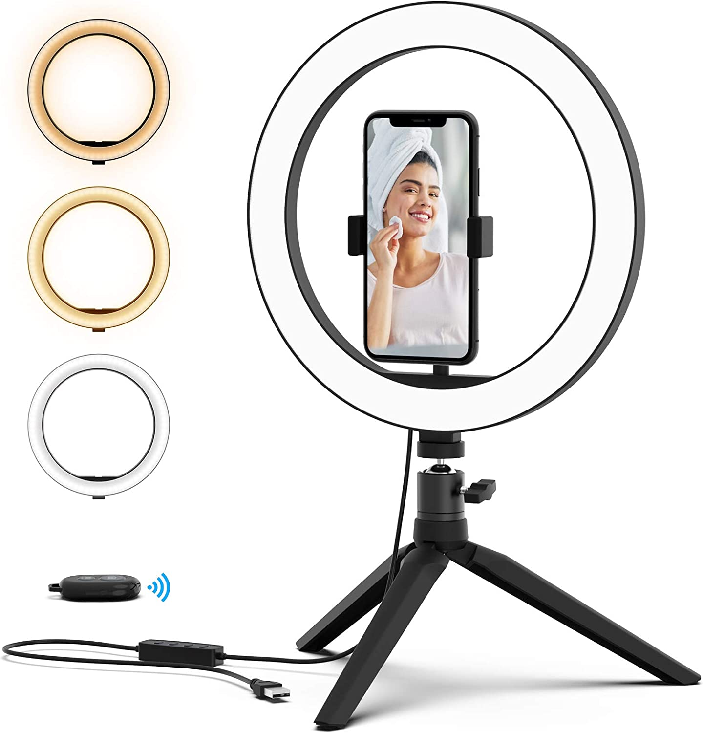 Desktop Makeup Camera Fill light for YouTube Video Recordings dimmable Color LED Lamps Photography Boaraino Selfie Ring Light 10 26 colour with Tripod /& Cell Phone Holder and Remote Control Live Stream Makeup