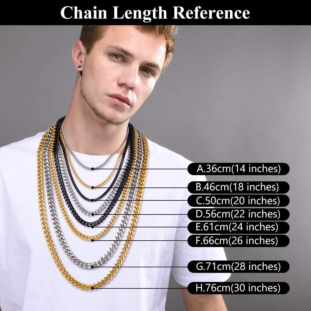Richsteel 6//10//14 mm catena a maglia barbazzale da uomo per uomo e modello lunghezza 36-76 cm