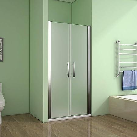 Porte de douche pivotante 100x195 cm verre anticalcaire installation en niche les vitres peuvent tourn/é /à 180/°