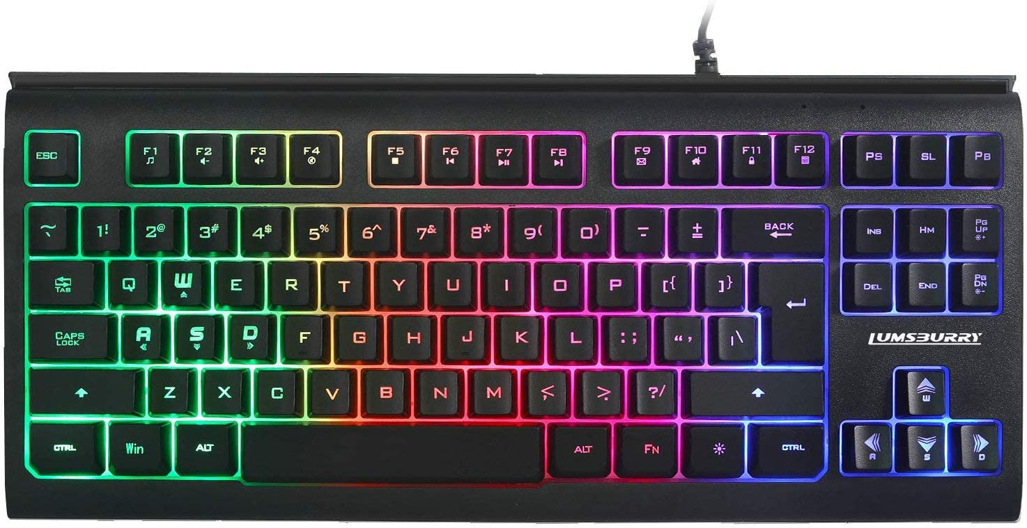 Rainbow LED Backlit 87 Keys Gaming Keyboard, Compact Keyboard with 12 Multimedia Shortcut Keys USB Wired Keyboard for PC Gamers Office