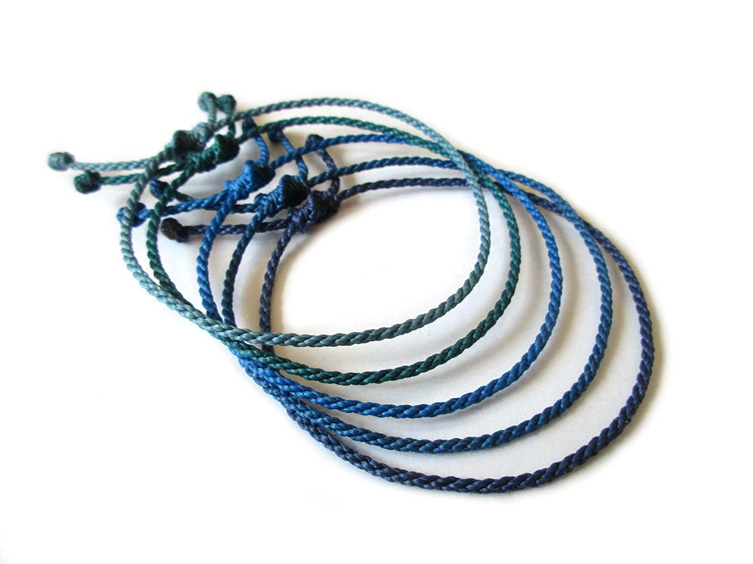 2 mm Thin Round Flexible Rope Wristband #18 Braided With Waxed Thread Adjustable Unisex Simple and Waterproof Pale Royal Blue Cord String Bracelet