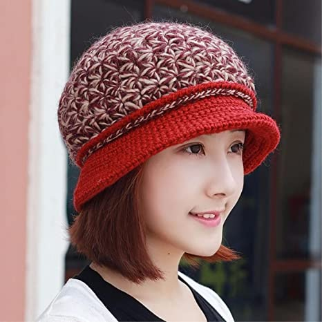 b864a89f5 Amazon.com: Women's Hat Ms Cap Autumn Winter Padded Hand Knitted Hat ...