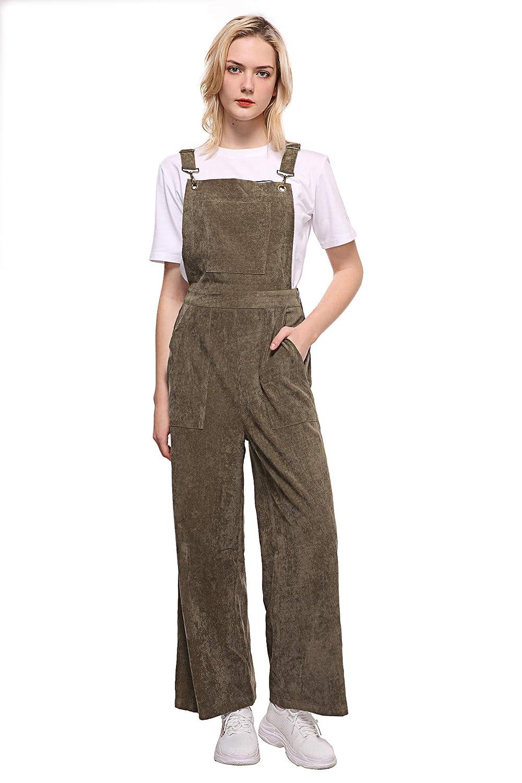 Green Women's Adjustable Sling Denim Pocket Workwear Teens Casual Slit Jumpsuit