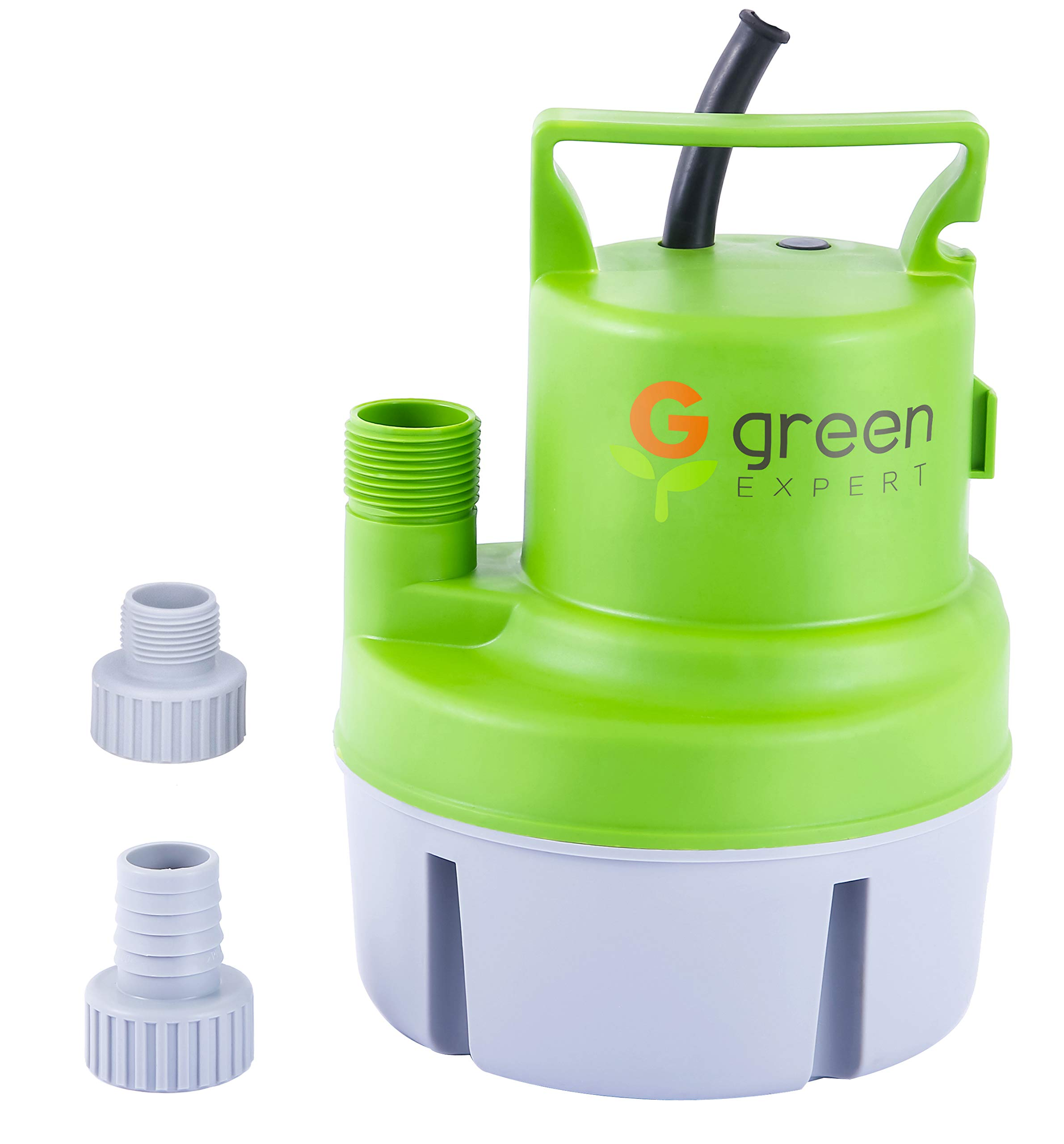Green Expert 203617 1/6 HP Portable Submersible Utility Pump with Max 1056 GPH Flow Efficiently for Water Removal Basement Flood Drainage Pump, suit to Standard Garden hose, 25 feet Cord by G green EXPERT