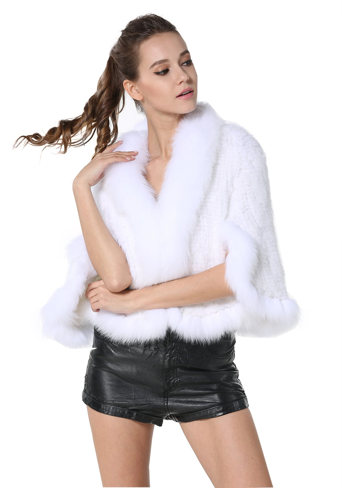 MEEFUR Women's Natural Mink Fur Knitted Cappa Cloak Cape with Fox Fur Collar (White)