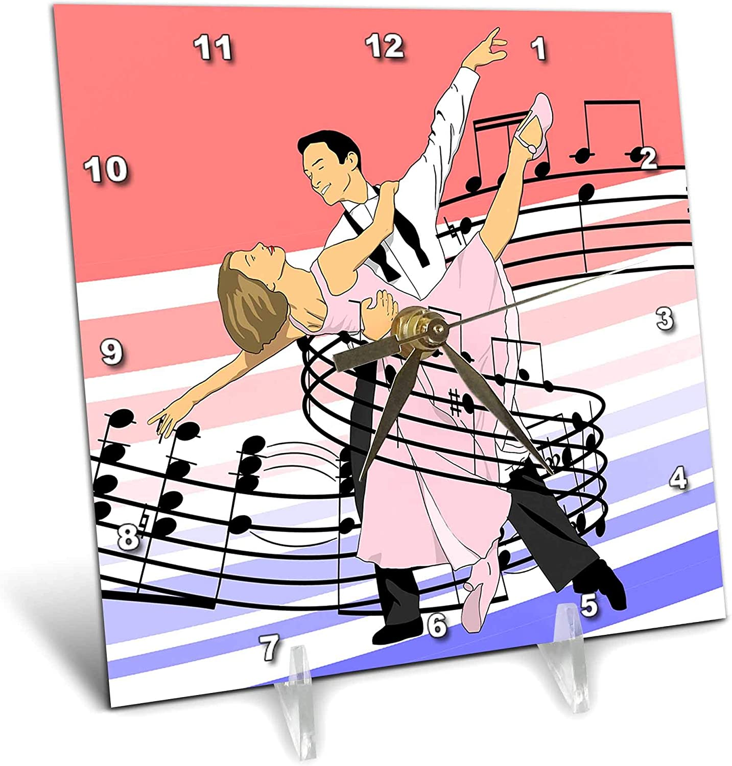 3dRose Macdonald Creative Studios – Dance - Dance Classic Ballroom Dancing of Dance Partners Wrapped in Music - 6x6 Desk Clock (dc_323207_1)