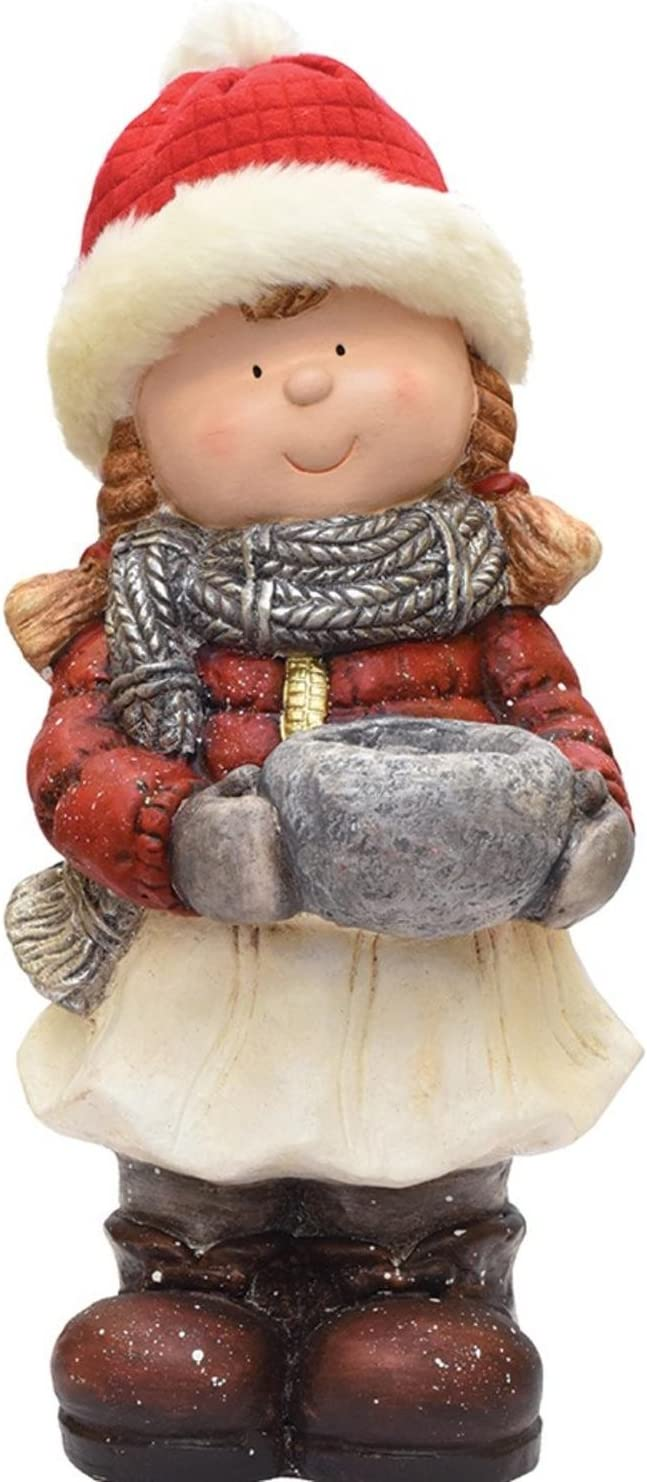 Amazon Com Northlight 17 Standing Young Girl In Ski Hat With Candle Holder Winter Outdoor Patio Garden Statue Home Kitchen