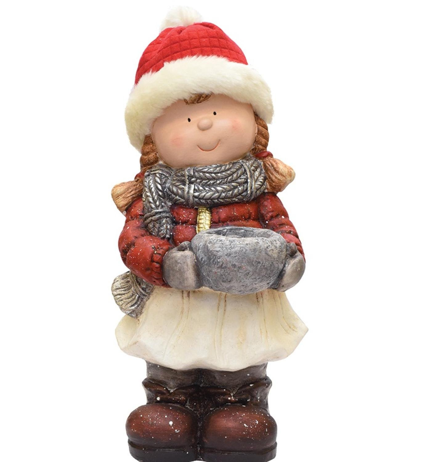 Northlight 17'' Standing Young Girl in Ski Hat with Candle Holder Winter Outdoor Patio Garden Statue