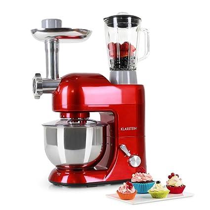 Klarstein Lucia Rossa Robot De Cuisine 1200 W 5 L Hachoir A Viande Pates Bol Mixeur Rouge