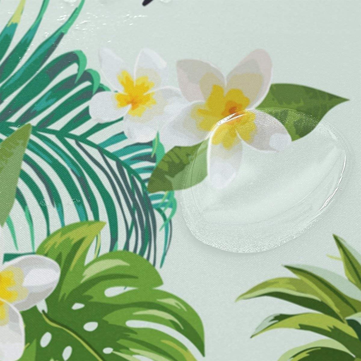 72 x 72 inch Dodou Shower Curtain Flamingos Tropical Plant Pattern Garden Theme Digital Printing Waterproof Polyester Shower Curtain