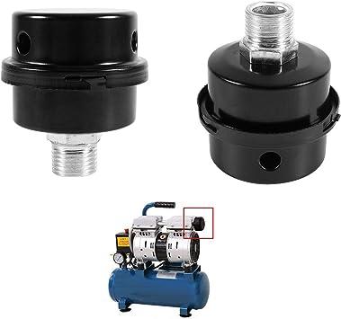 Negro del Filtro de Aire del Metal 3//816MM Silenciador Silenciador del Compresor de Aire del Hilo 2 Pcs Compresor de Aire Filtro silenciador para el Compresor de Aire