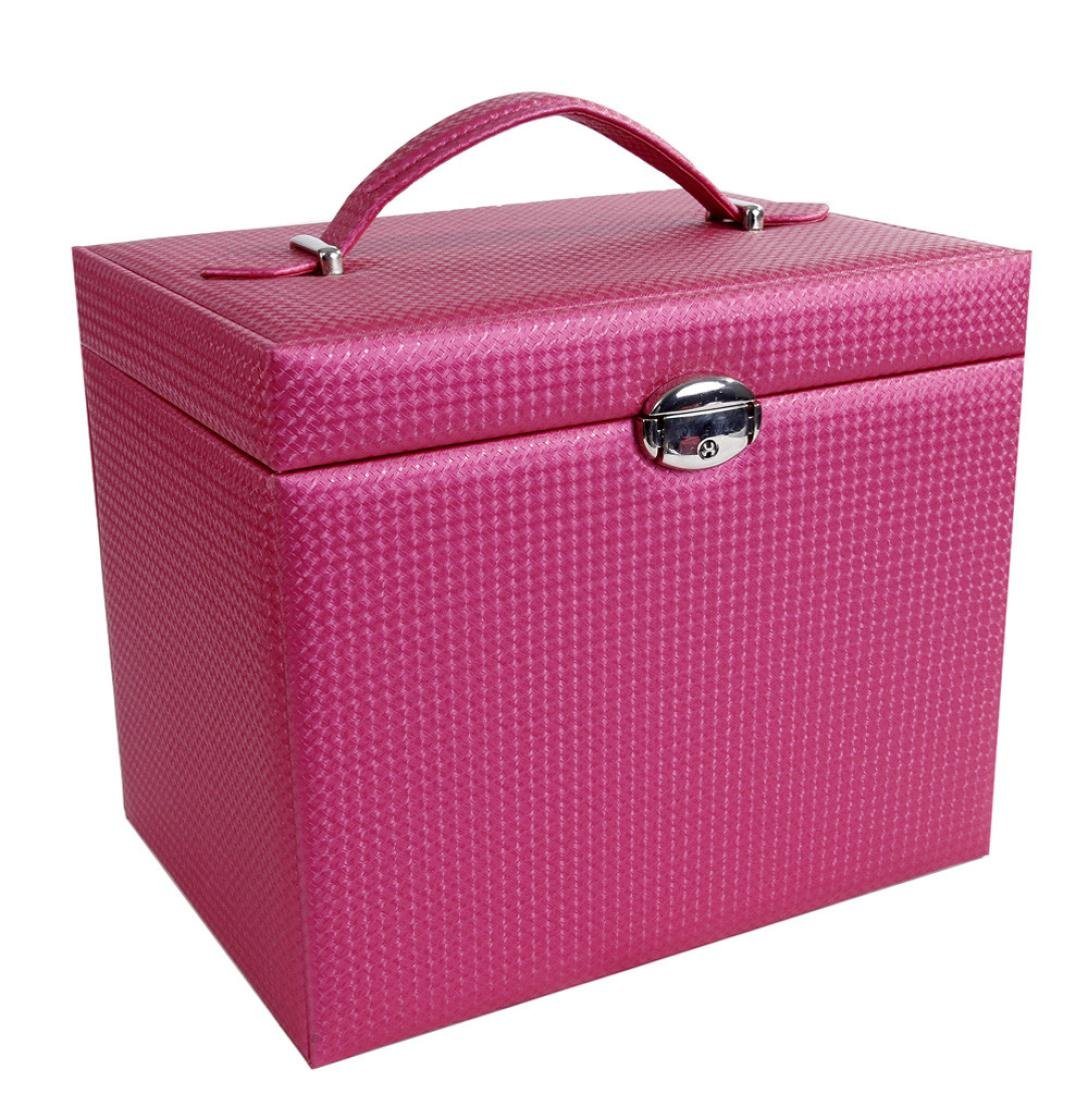 Kanzd Leather Cosmetic Case Portable Professional Makeup Cosmetics Cases Toolbox Large Size (A)