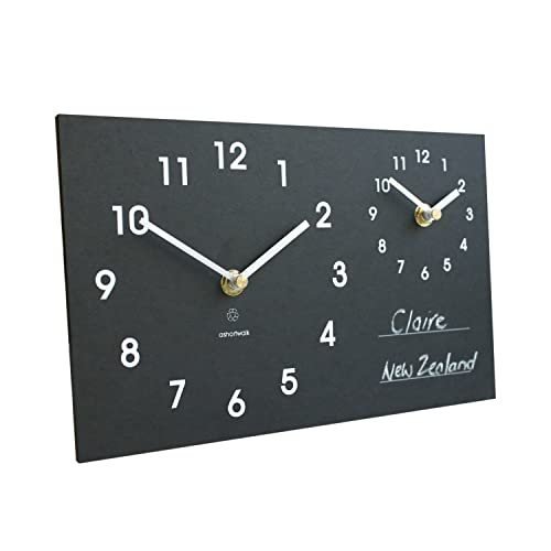 Amazoncom Eco Recycled Dual Time Zone Classic Wall Clock with