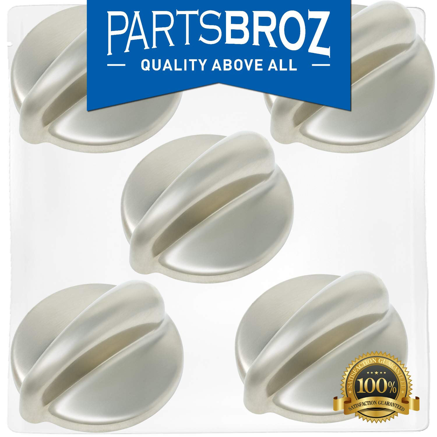 WB03K10303 Surface Burner Control Knob for GE Stoves, Chrome Finish by PartsBroz - Replaces Part Numbers AP4980246, 1810427, AH3486484, EA3486484, PS3486484, WB03K10208 (Pack of 5)