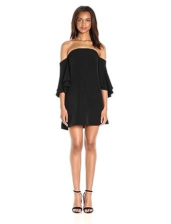 Milly Women's Double Flutter Sleeve Dress, Black, 2